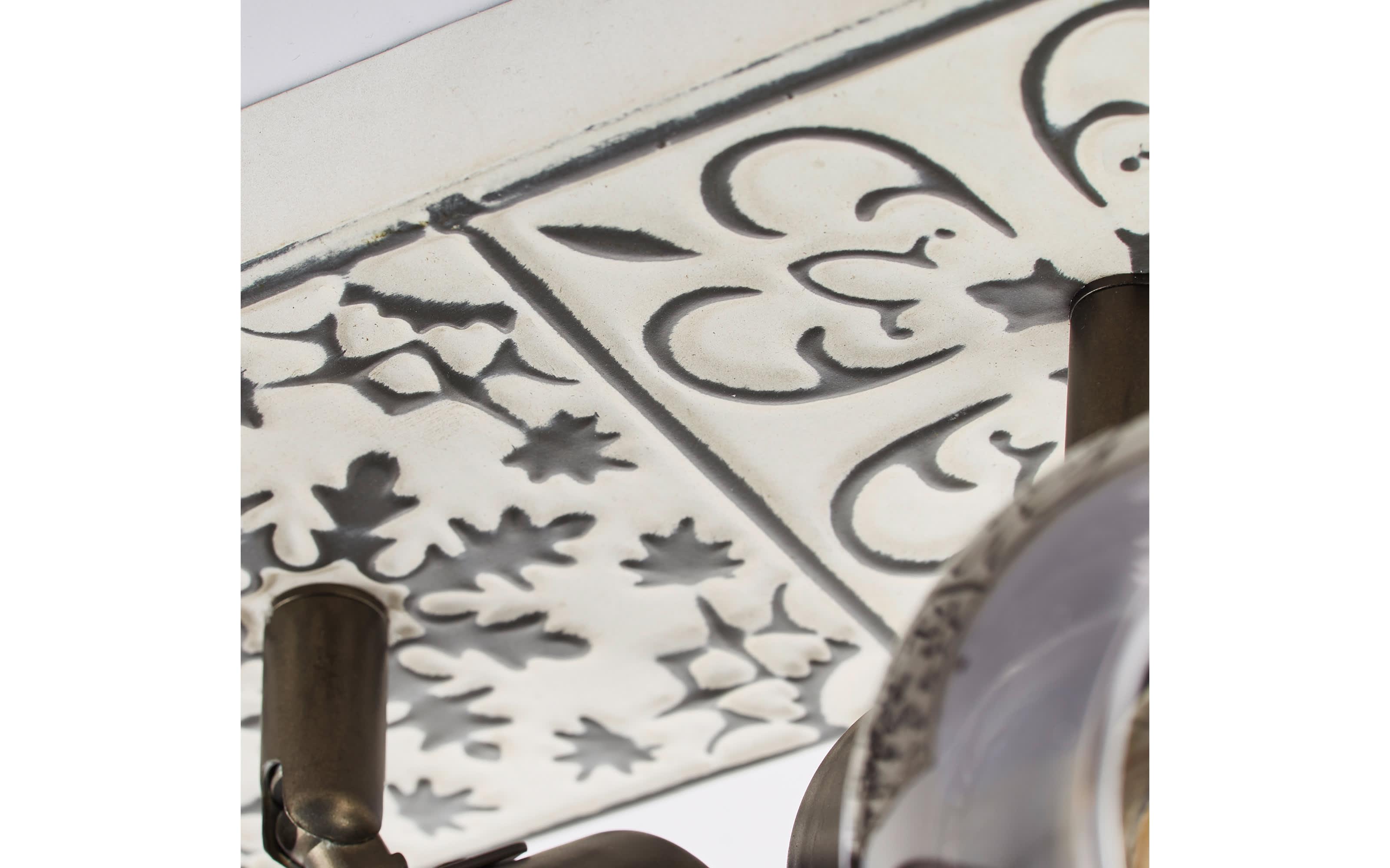 Deckenleuchte Tolosa in creme/rauchfarbig, 2-flammig