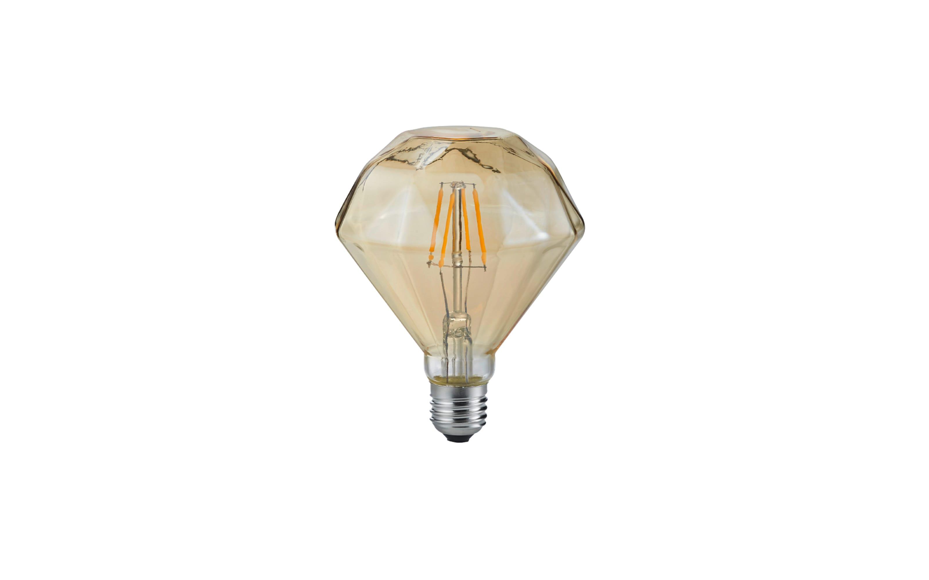 LED-Filament Diamant rund beige getönt, 4W / E27