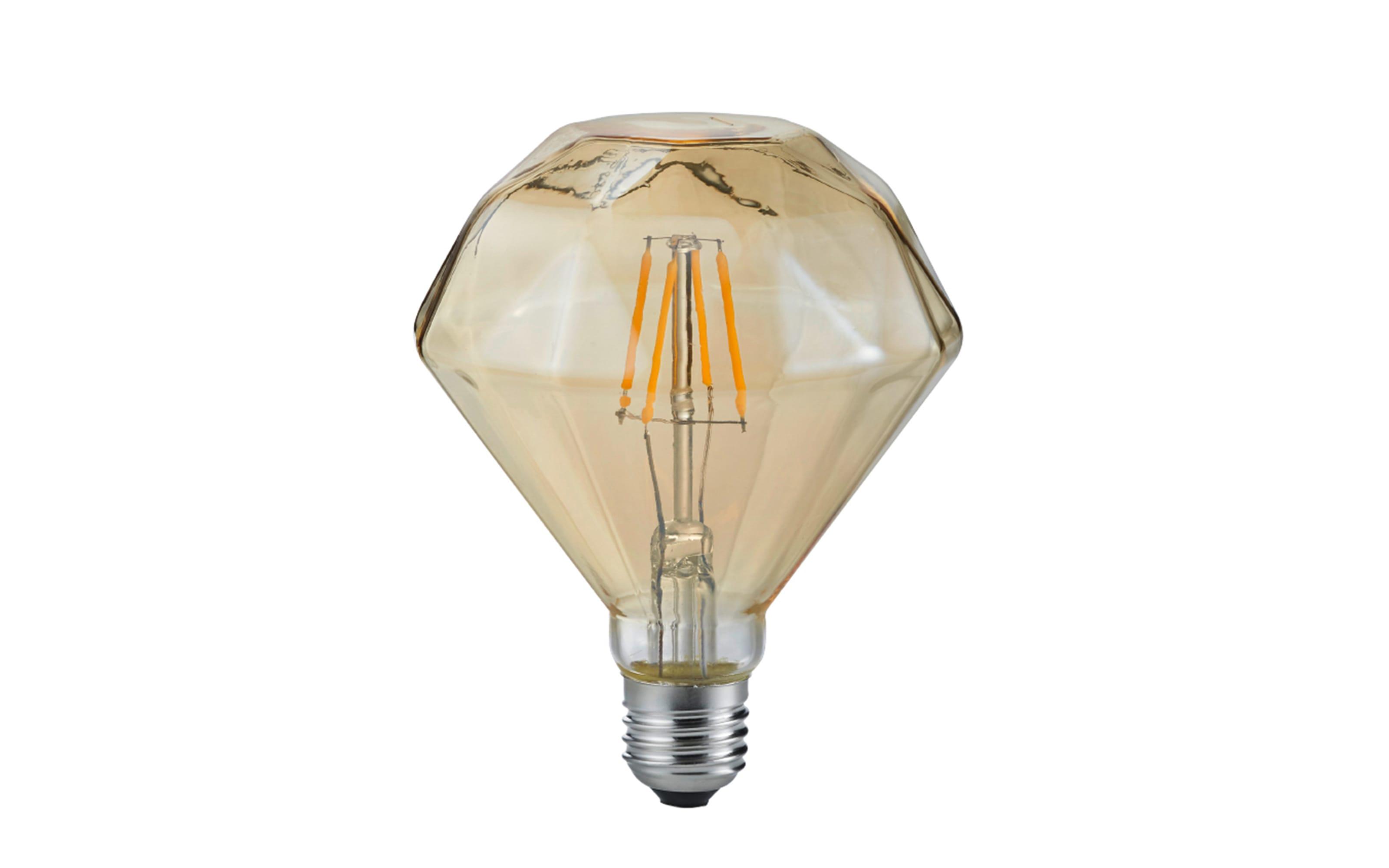 LED-Filament Diamant rund beige getönt, 4 W / E27