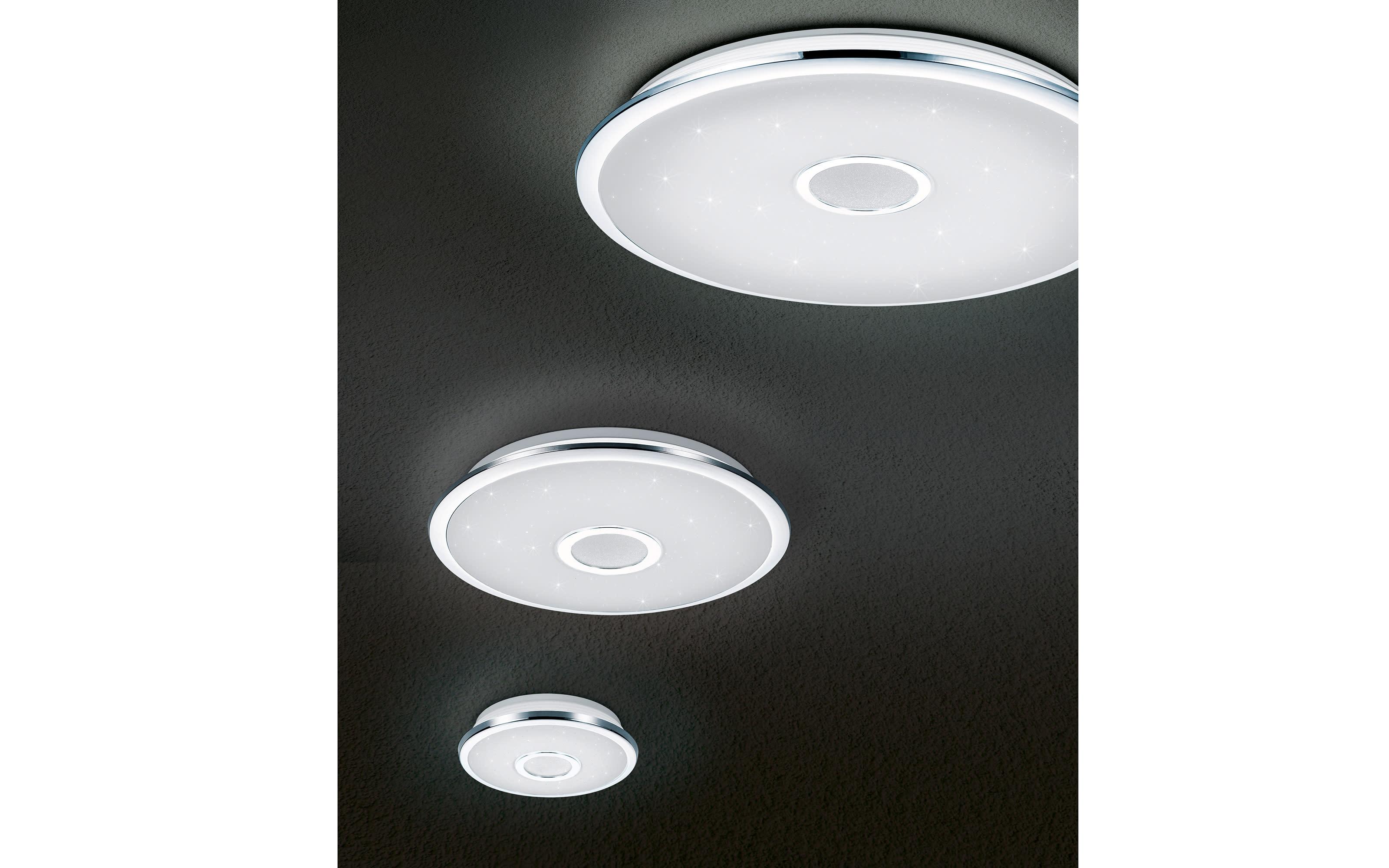 LED-Deckenleuchte Osaka in chromfarbig, 42 cm