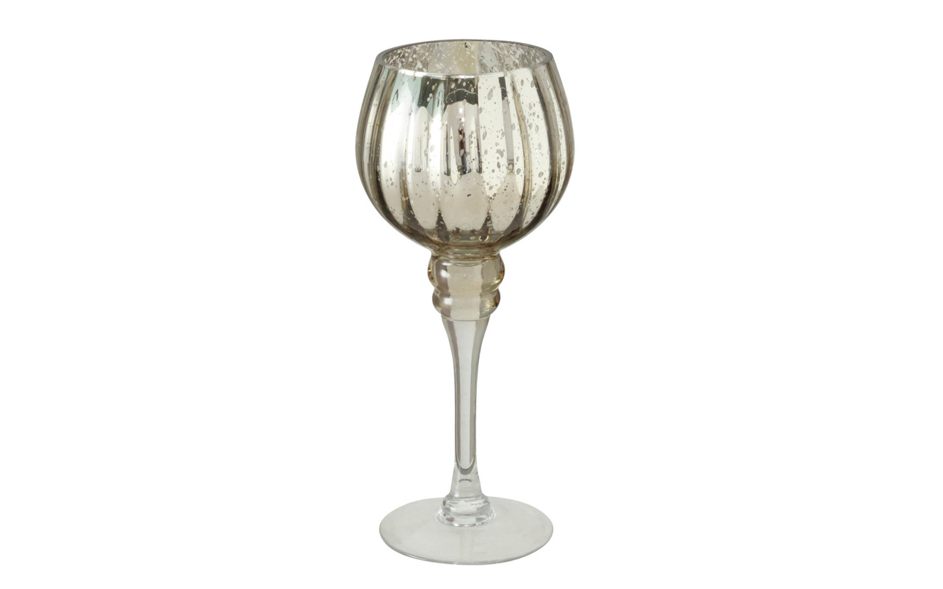 Windlicht Minou aus Glas in champagner lackiert, 30 cm, 2-teilig