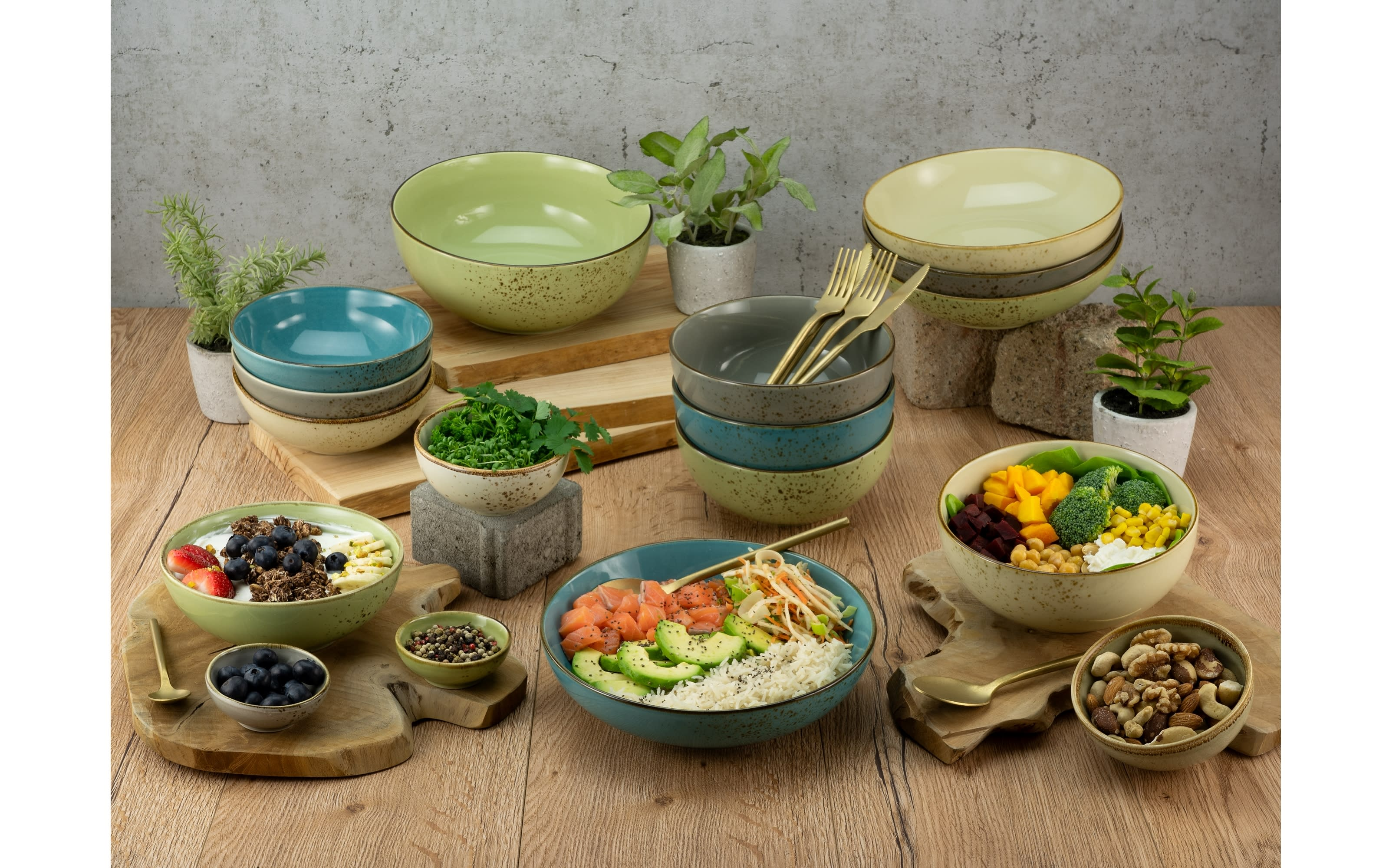 Poke Bowl Nature Collection in steingrau, 22,5 cm