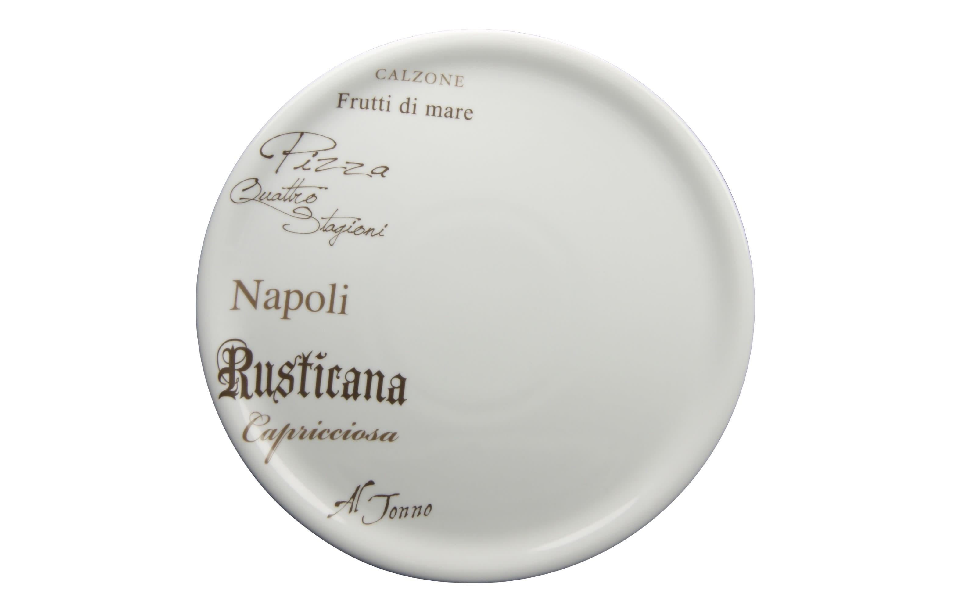 Pizzateller Gustoso in weiß mit Schrift-Dekor