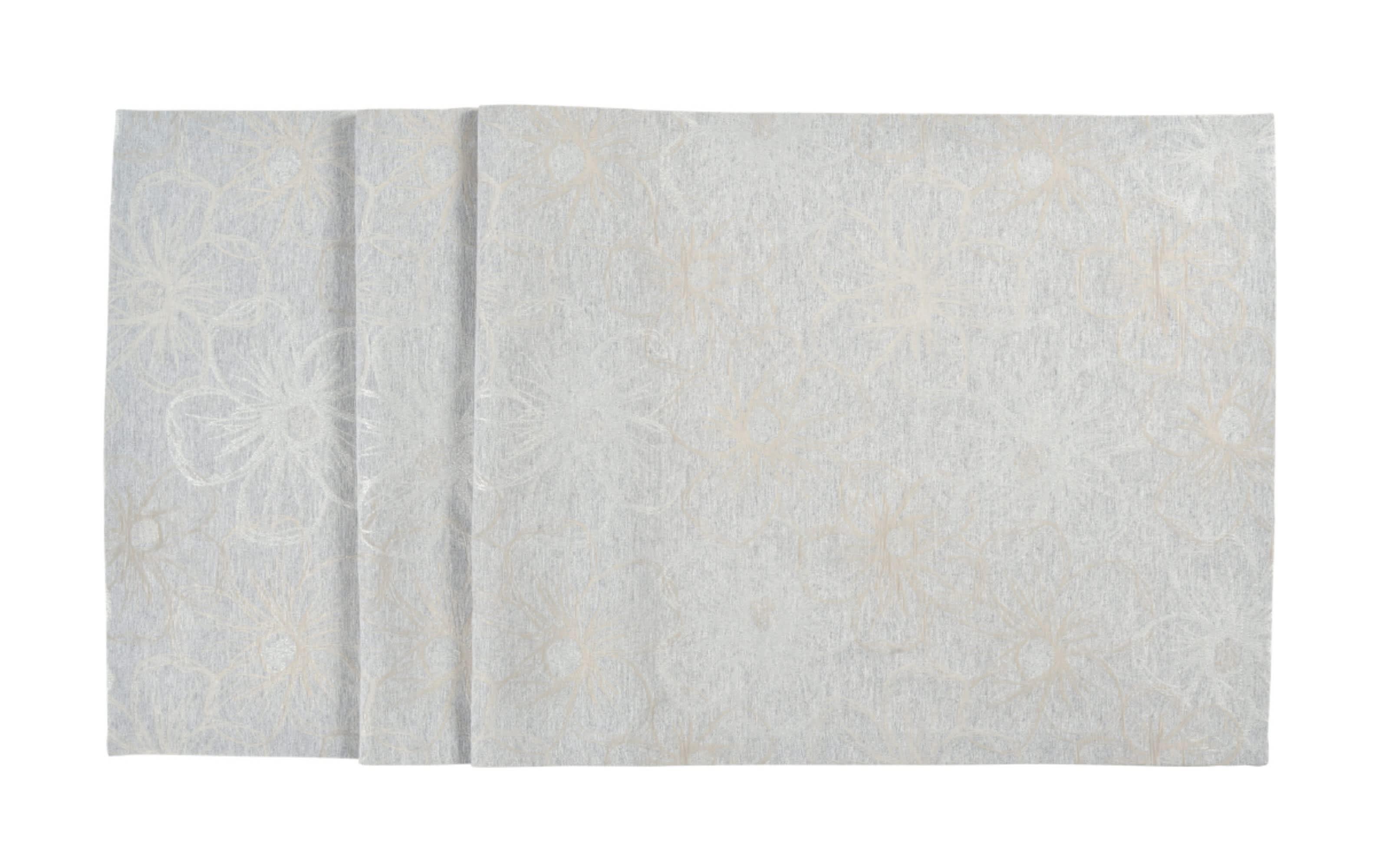 Tischläufer Fiori in silber, 50 x 140 cm