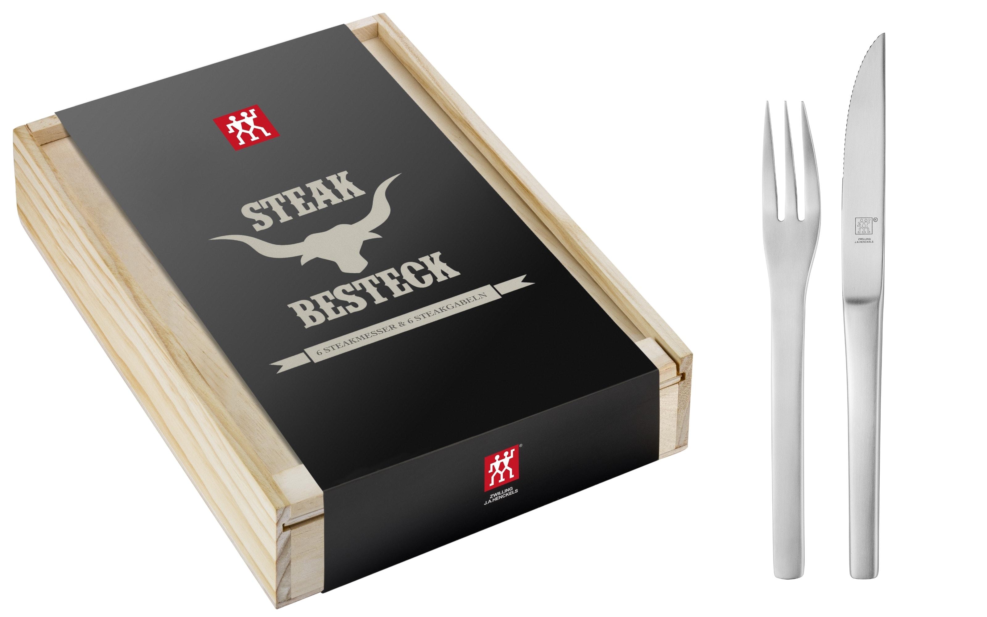 Steakbesteck Melbourne in Holzbox, 12-teilig