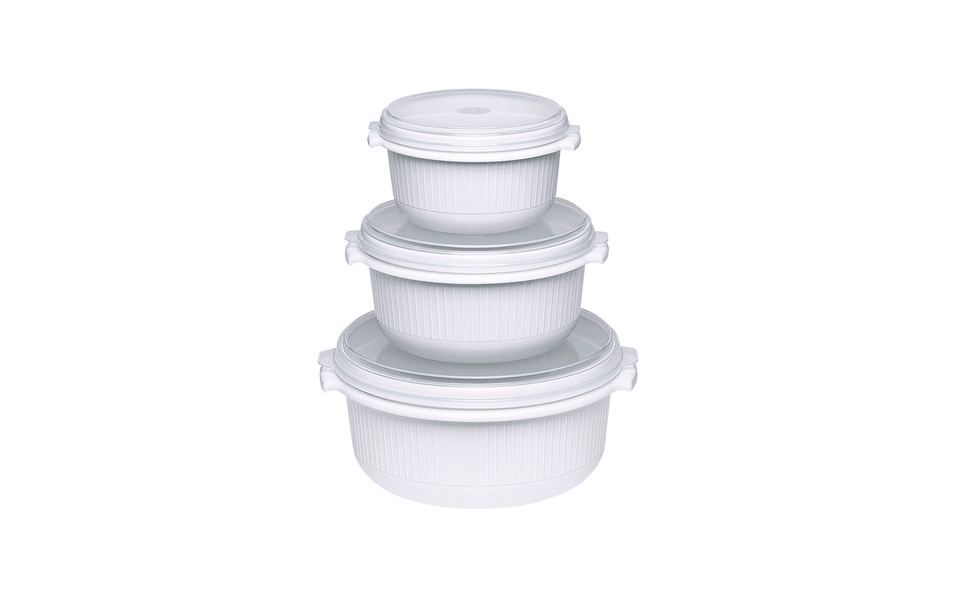 Mikrowellen-Set Micro Family in weiß, 3-teilig