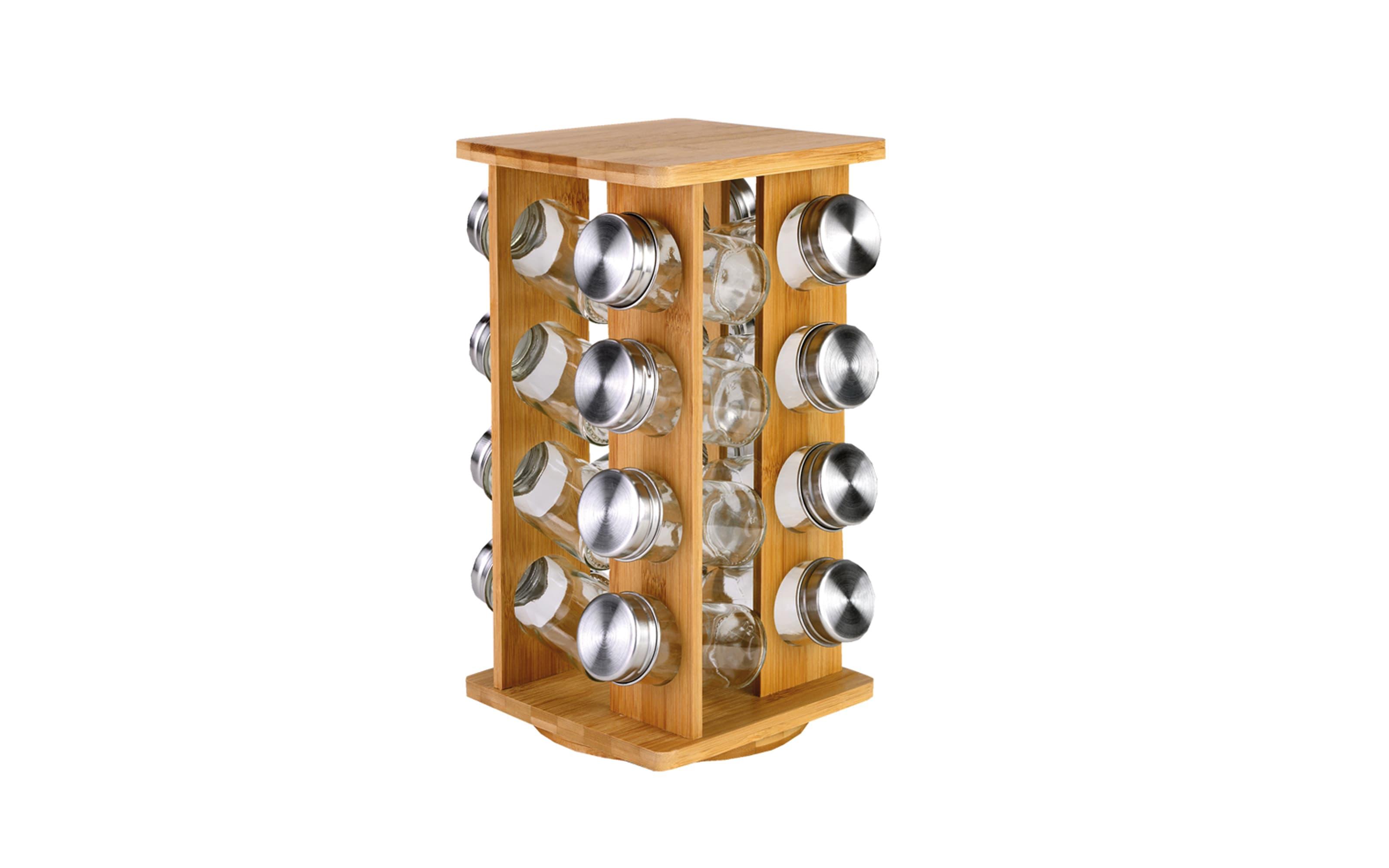 Gewürzständer aus Bambus mit 16 Gläsern