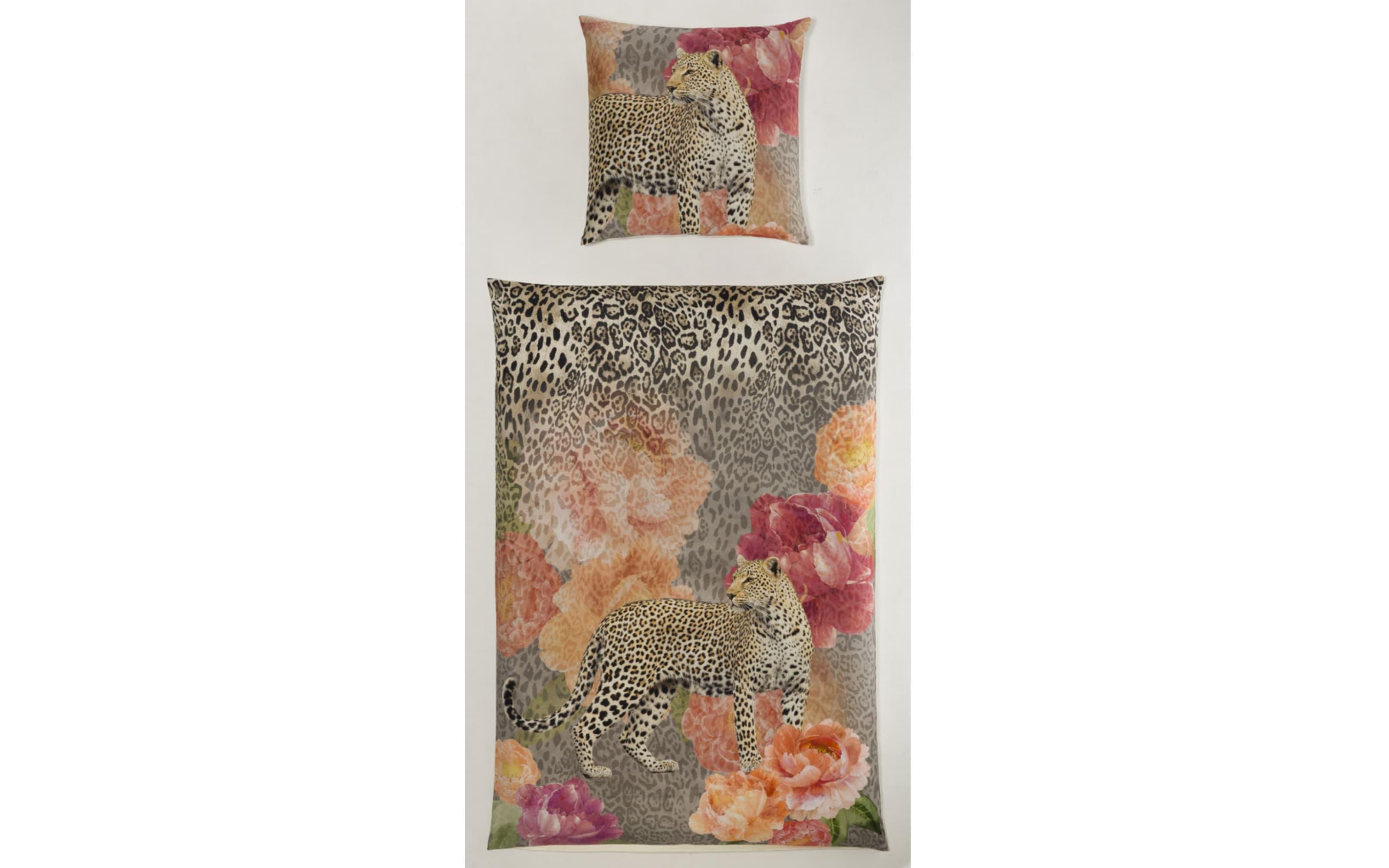 Bettwäsche in Satin und Leoparden Design, ca. 200 x 200 cm
