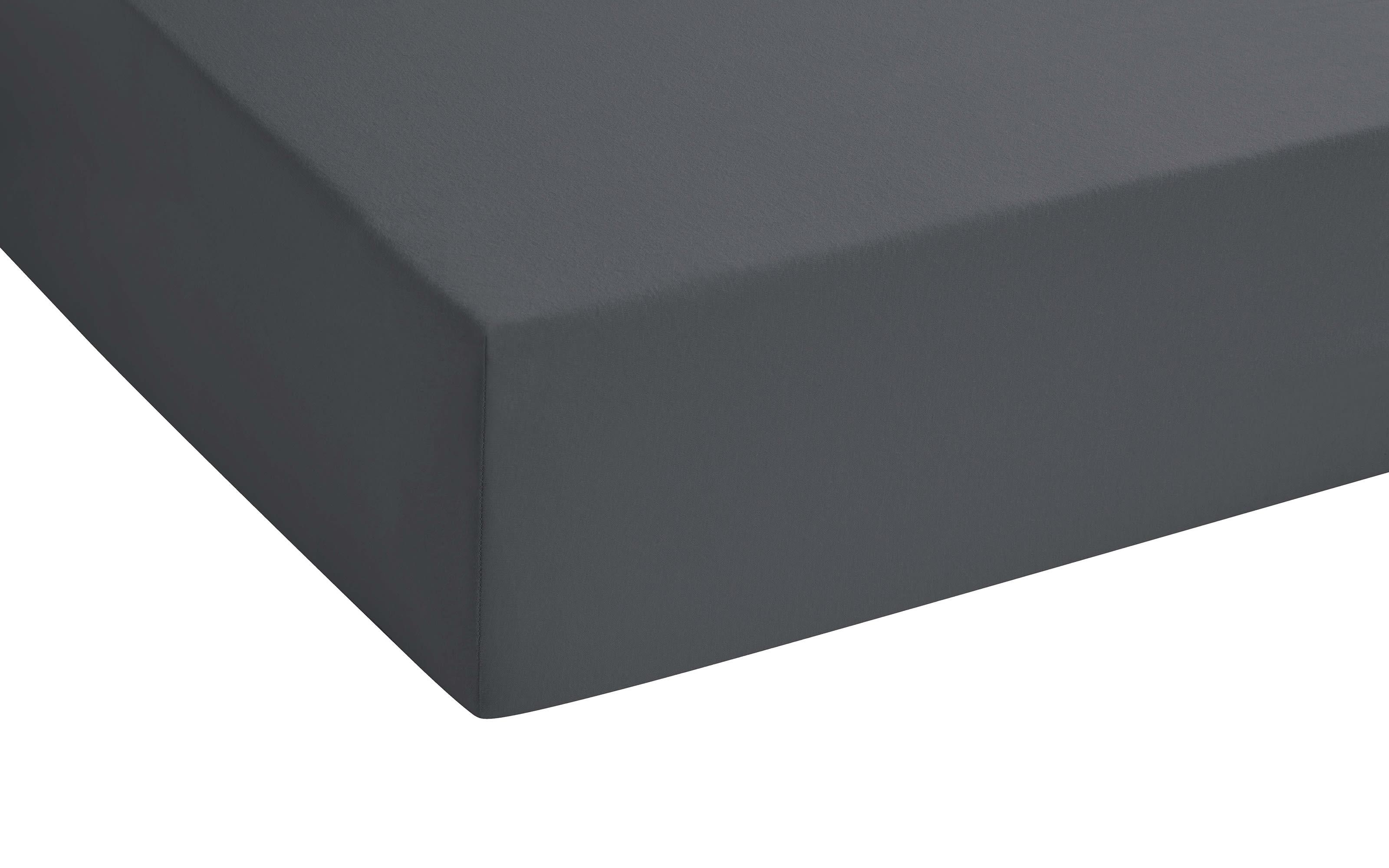 Boxspring-Spannbetttuch in anthrazit, 140 x 200 x 25 cm