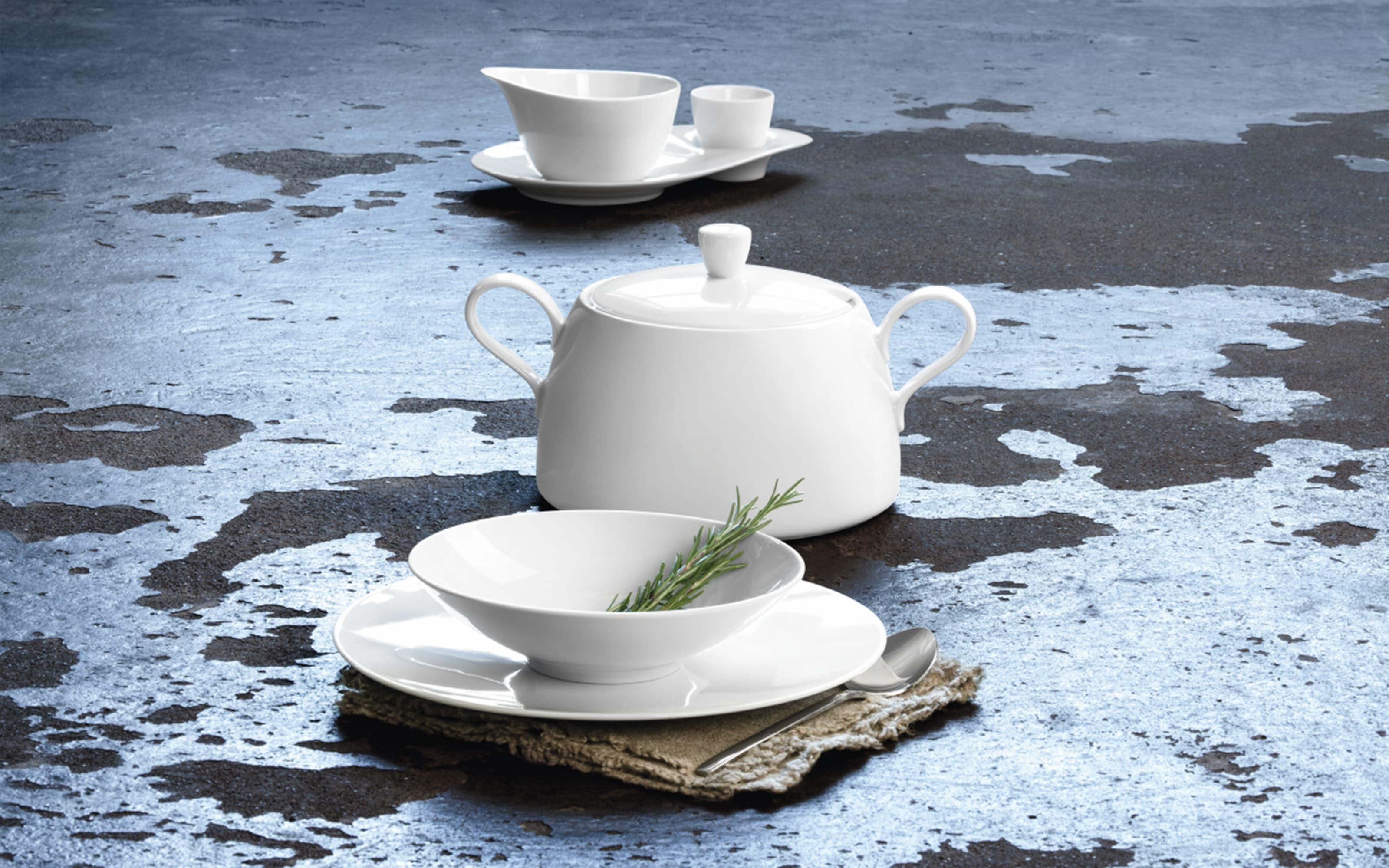 Frühstücksteller Life in weiß, 22,5 cm