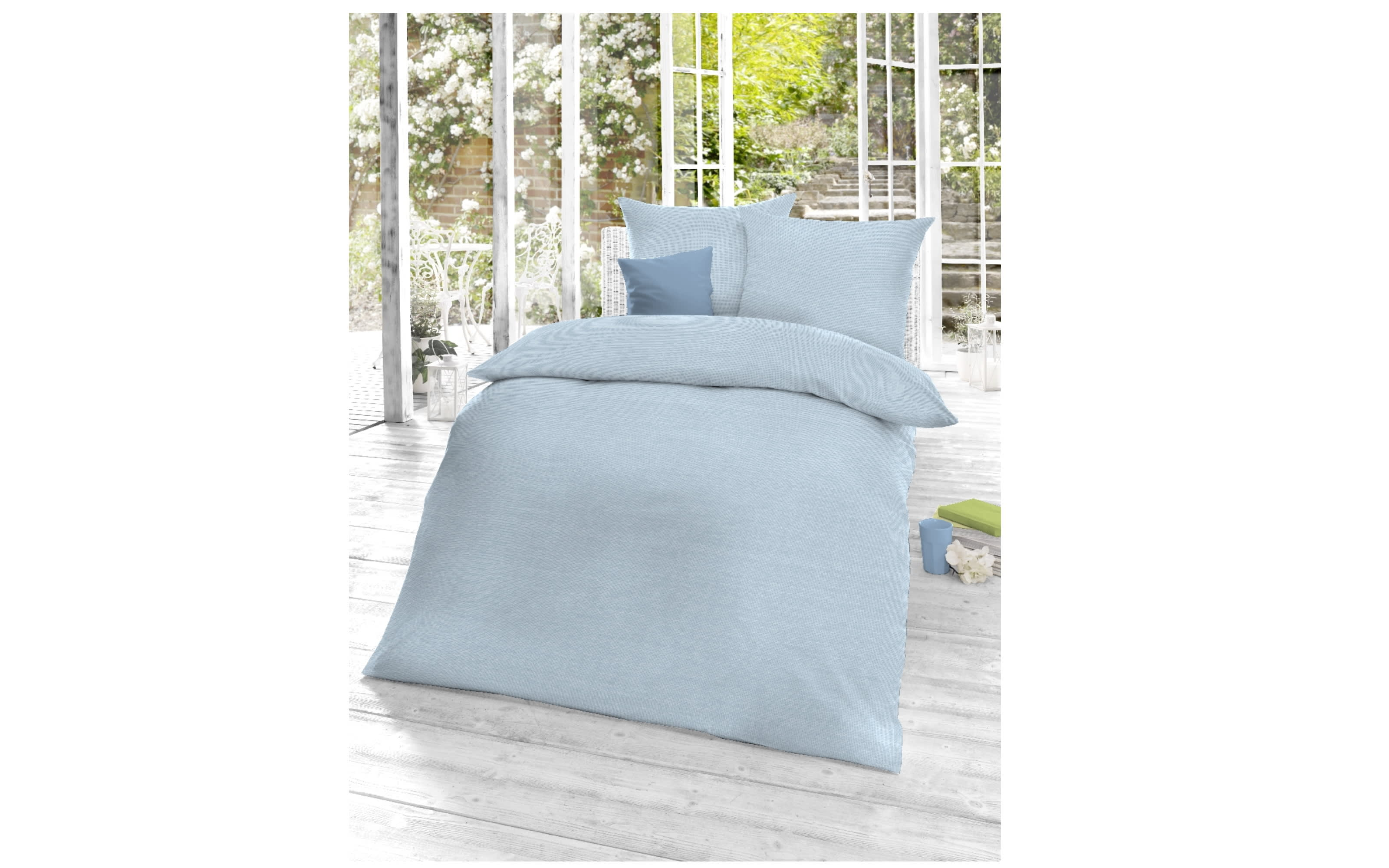 Bettwäsche Mako Satin Select in angle blue, 155 x 220 cm