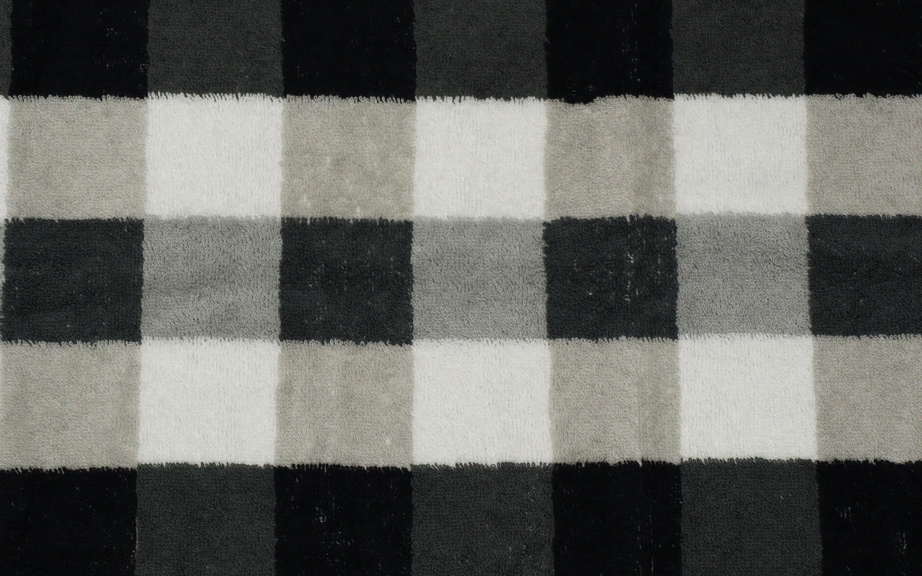 Duschtuch Karo in schwarz/weiss/grau, 70 x 140 cm