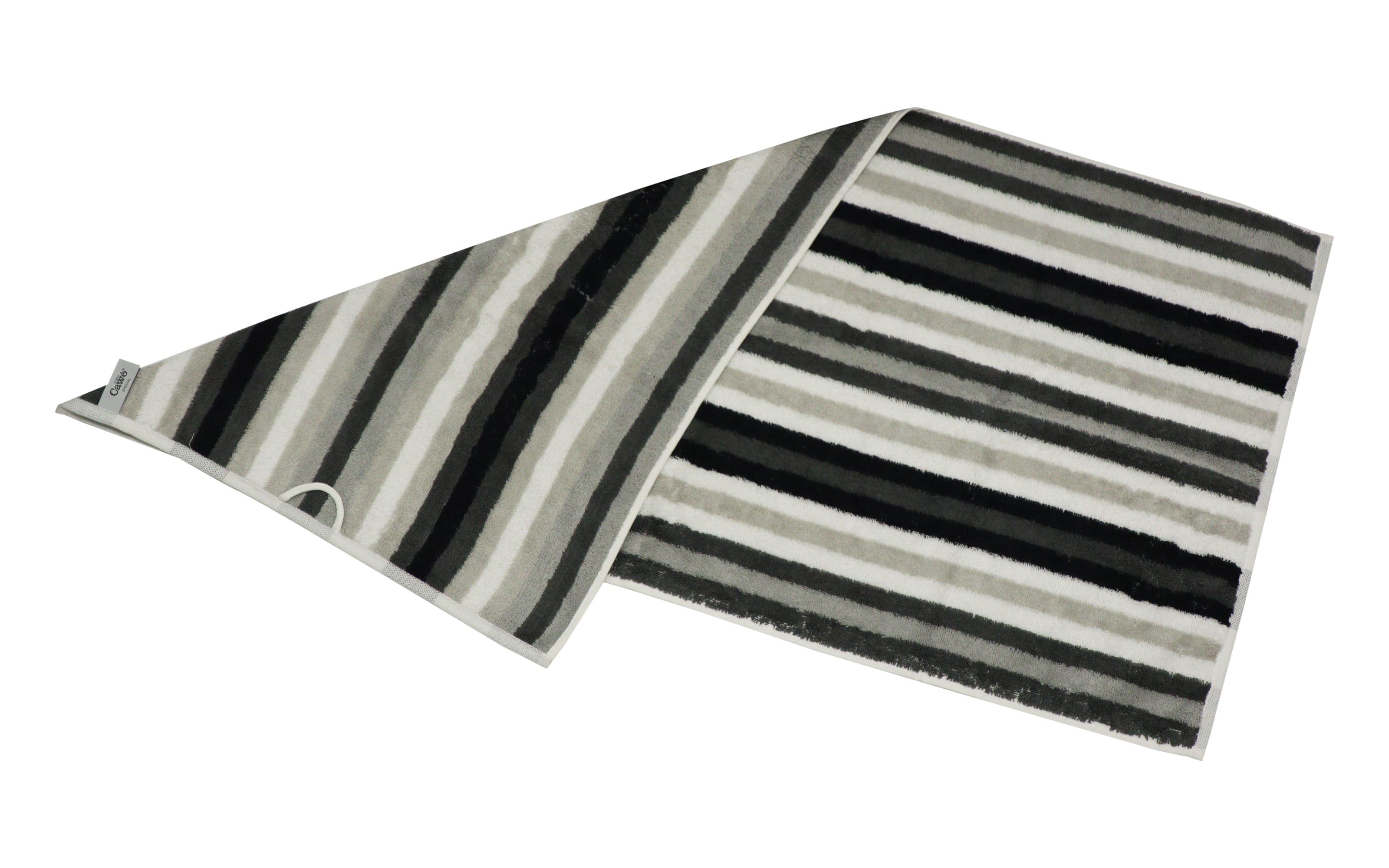 Handtuch Streifen in schwarz/weiss/grau, 50 x 100 cm