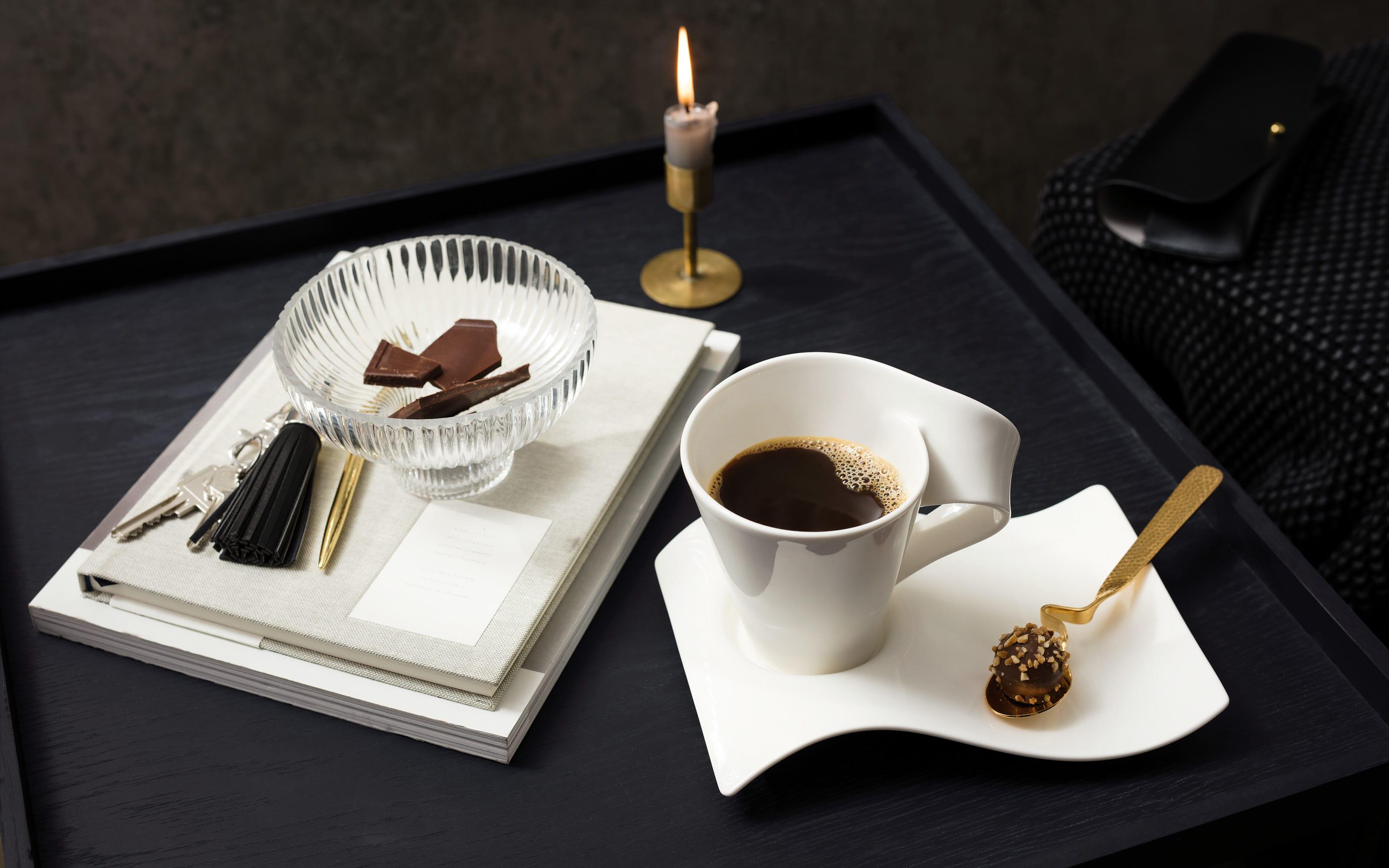 Becher mit Henkel New Wave Cafe in weiß, 0,25 l