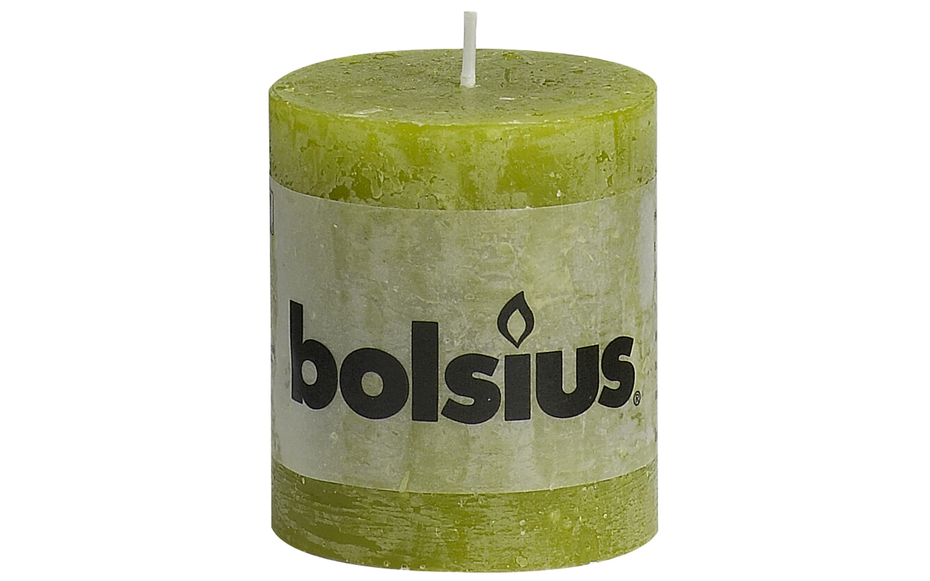 Stumpenkerze Rustik in moosgrün, 8 cm