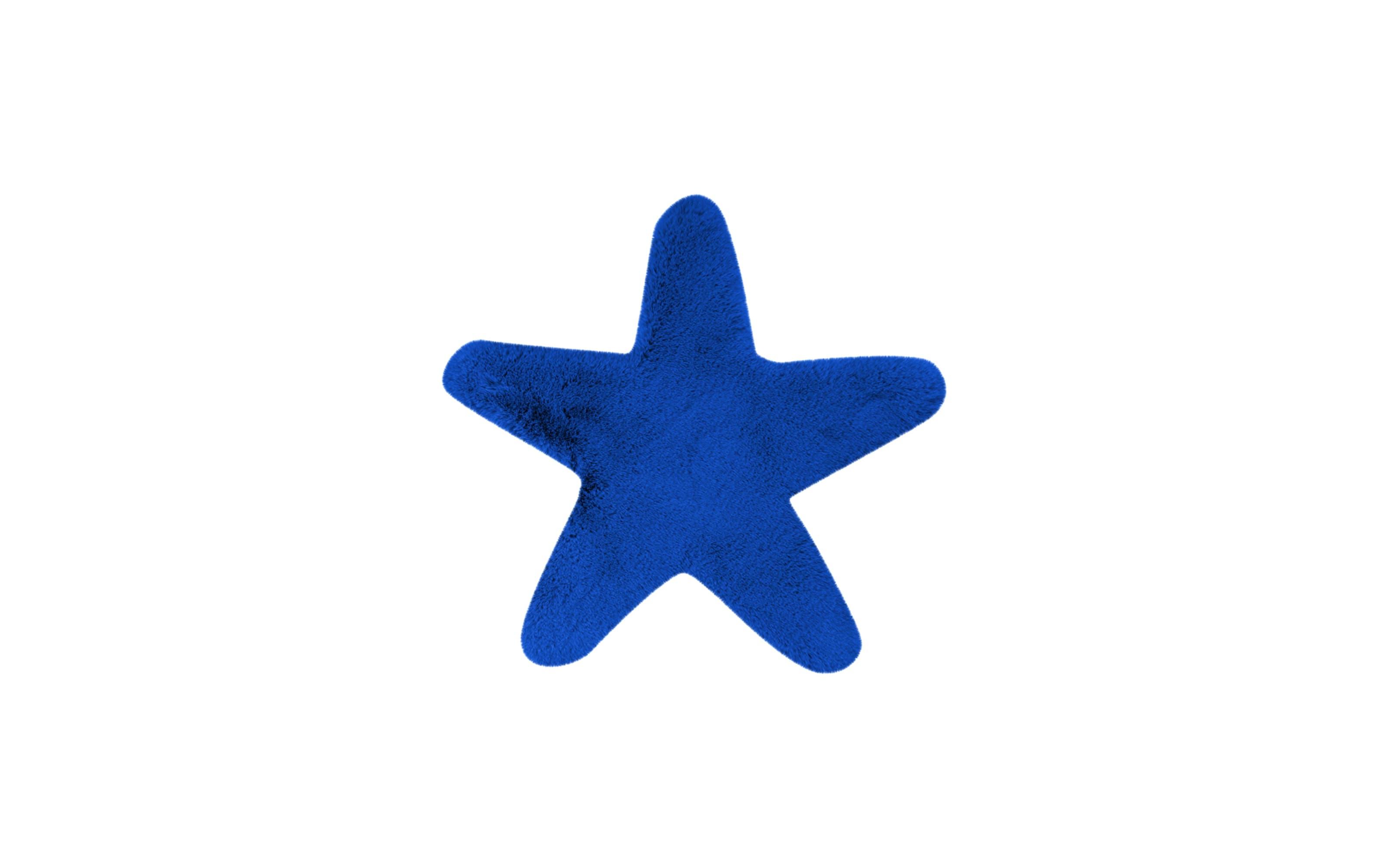 Hochflorteppich Star in blau, 60 x 63 cm