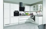 Einbauküche Focus in alpinweiß Hochglanz, Bauknecht Geschirrspüler BCIO3T121PE
