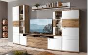 Wohnwand Terra Plus in weiß matt / Eiche Altholz-Nachbildung, mit Softclose-Funktion
