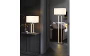 LED-Standleuchte Domo in nickel/weiß