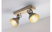 Deckenleuchte Timber in metall/holz, 2-flammig