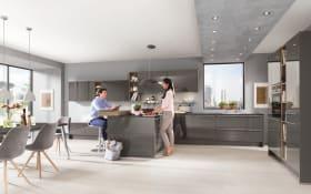 Einbauküche Lux, schiefergrau Hochglanz Lack, inklusive Elektrogeräte