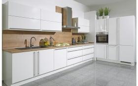 Einbauküche Lux, weiß Lack Hochglanz, inklusive Miele Elektrogeräte