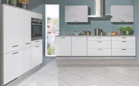 Einbauküche Flash, Lacklaminat Hochglanz seidengrau, inklusive Elektrogeräte, inklusive AEG Geschirrspüler