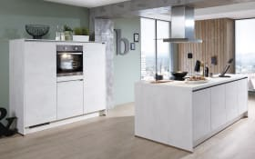 Einbauküche Riva, Weißbeton-Nachbildung, inklusive Elektrogeräte