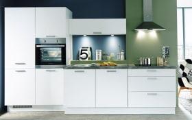 Einbauküche Fashion, alpinweiß Lack, inklusive Elektrogeräte, inklusive Siemens Geschirrspüler
