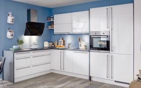 Einbauküche Flash, Lacklaminat Hochglanz weiß, inklusive Miele Backofen und Neff-Geschirrspüler