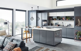 Einbauküche Lux, Lack Hochglanz schiefergrau, inklusive Privileg Elektrogeräte