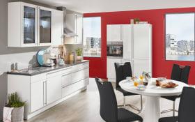 Einbauküche Flash, Hochglanz Lacklaminat weiß, inklusive Elektrogeräte, inklusive Siemens Geschirrspüler