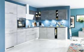 Einbauküche Riva, weißbeton Nachbildung, inklusive Miele Backofen, inklusive Siemens Geschirrspüler