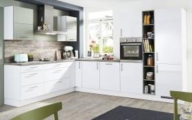 Einbauküche Focus, alpinweiß Lack, inklusive Elektrogeräte, inklusive AEG Geschirrspüler