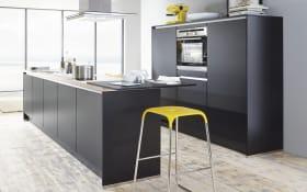 Einbauküche Touch, schwarz supermatt, inklusive Elektrogeräte, inklusive Siemens Geschirrspüler