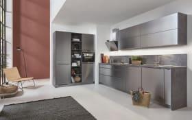 Einbauküche Inox, Stahl gebürstet, inklusive Bauknecht Elektrogeräte