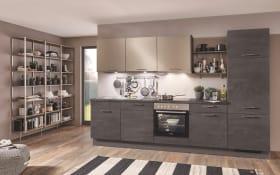 Einbauküche Speed 288, schwarzbetonfarbig, inklusive Elektrogeräte