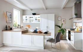 Einbauküche Nordic, Lack weiß matt, inklusive AEG Elektrogeräte