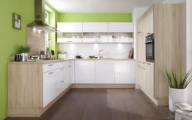 Einbauküche Focus in Hochglanz weiß, inklusive Bosch Elektrogeräte