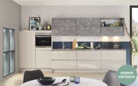 Einbauküche Focus, Hochglanz sand, inklusive Elektrogeräte