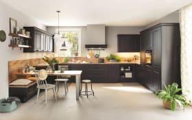Einbauküche Sylt, Lack schwarz matt, inklusive Privileg-Geschirrspüler