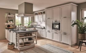 Einbauküche York in Lack seidengrau, AEG Elektrogeräte inklusive