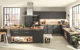 Einbauküche Touch, schwarz supermatt, inklusive Elektrogeräte