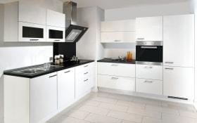 Einbauküche Lux, Lack weiß Hochglanz, inklusive Elektrogeräte, inklusive Siemens-Geschirrspüler