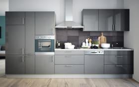 Einbauküche Cristall, Hochglanz grau, inklusive Siemens Elektrogeräte