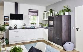 Einbauküche Laser brillant, weiß, inklusive AEG Elektrogeräte