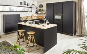 Einbauküche Laser Soft in schwarz, inklusive AEG Elektrogeräte