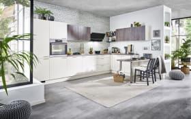 Einbauküche Uno/Meteor, magnolia, inklusive Neff Elektrogeräte