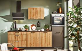 Einbauküche 700 PN100 664 graphit/Honig Eiche Nachbildung, inklusive Zanker Elektrogeräte