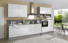 Einbauküche PN220 Steingrau Hochglanz, inklusive Zanker Elektrogeräte